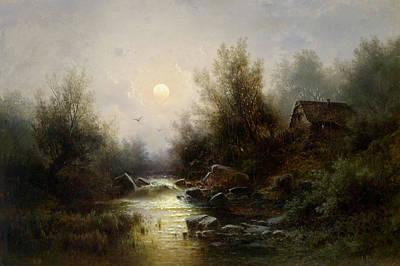 River Landscape  Moonlit Night Near Brixen Poster