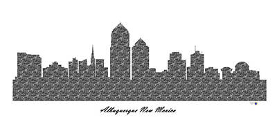 Albuquerque New Mexico 3d Bw Stone Wall Skyline Poster
