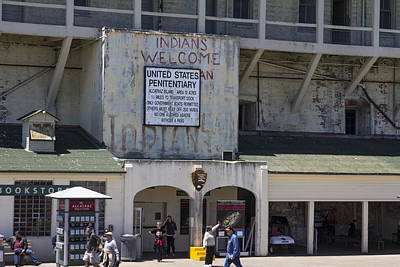 Alcatraz Entrance Indians Welcome Poster by John McGraw