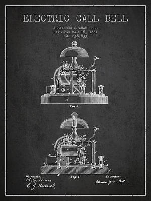 Alexander Bell Electric Call Bell Patent From 1881 - Dark Poster