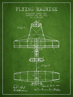 Alexander Graham Bell Flying Machine Patent From 1913 - Green Poster