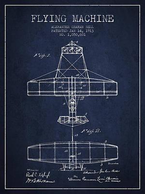 Alexander Graham Bell Flying Machine Patent From 1913 - Navy Blu Poster