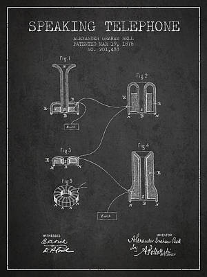 Alexander Graham Bell Speaking Telephone Patent From 1878 - Dark Poster by Aged Pixel