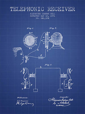 Alexander Graham Bell Telephonic Receiver Patent From 1881- Blue Poster