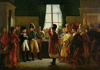 Alexander I 1777-1825 Presenting The Kalmuks, Cossacks And Bashkirs To Napoleon I 1769-1821 Poster