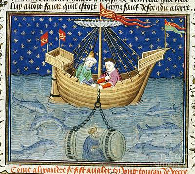 Alexander's Diving Bell, Medieval Artwork Poster by British Library