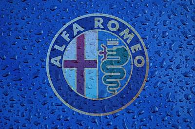 Alfa Romeo Rainy Window Visual Art Poster