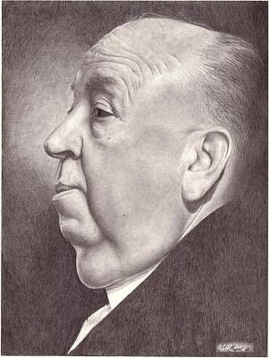 Alfred Hitchcock Portrait Drawing Poster