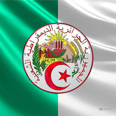 Algeria - Coat Of Arms Over Flag Poster by Serge Averbukh