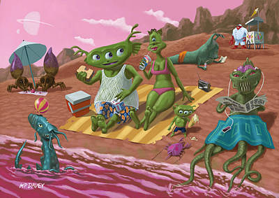 Alien Beach Vacation Poster by Martin Davey