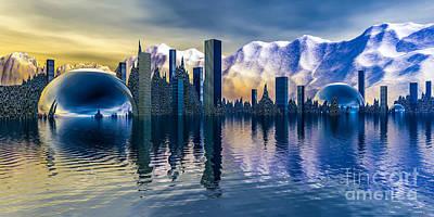 Alien Cityscape  Poster by Arlene Sundby