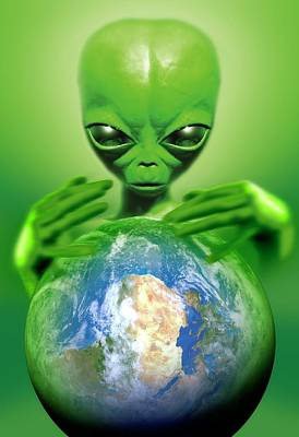 Alien Observing Earth Poster by Detlev Van Ravenswaay