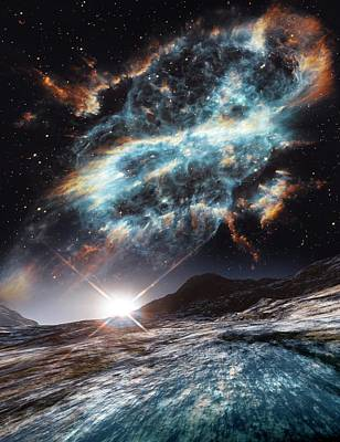 Alien Planet And Exploding Star Poster by Nasa, Esa, And The Hubble Heritage Team (stsci/aura)/detlev Van Ravenswaay