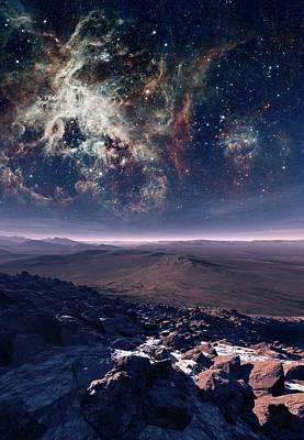 Alien Planet And Nebula Poster by Nasa, Esa, And D. Lennon (esa/stsci)/detlev Van Ravenswaay