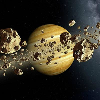 Alien Planet Ring System Poster by Detlev Van Ravenswaay