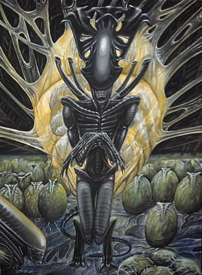 Poster featuring the painting Alien Queen And Her Hive by Jennifer Hotai