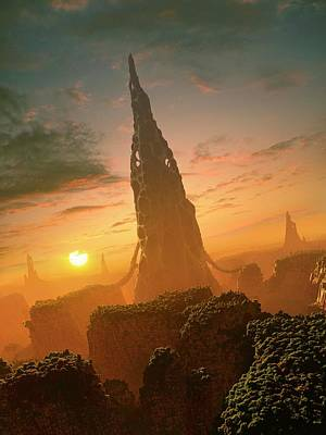 Alien Structures On An Extrasolar Planet Poster