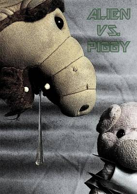 Alien Vs. Piggy Poster by Piggy