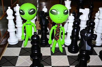 Aliens Playing Chess Poster