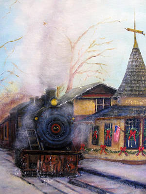 All Aboard At The New Hope Train Station Poster by Loretta Luglio