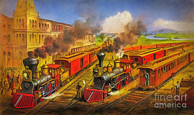 All Aboard The Lightning Express 1874 Poster by Lianne Schneider