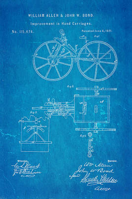 Allen And Bond Hand Carriage Patent Art 1871 Blueprint Poster by Ian Monk