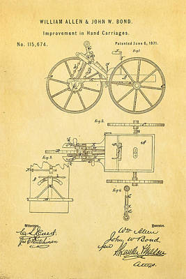 Allen And Bond Hand Carriage Patent Art 1871 Poster by Ian Monk