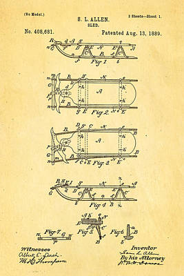Allen Sled Patent Art 1889 Poster by Ian Monk