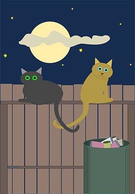 Alley Cats On A Fence Poster