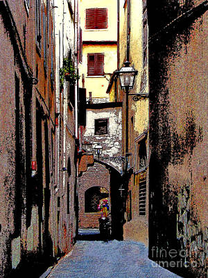 Poster featuring the digital art Alley In Florence 2 Digitized by Jennie Breeze