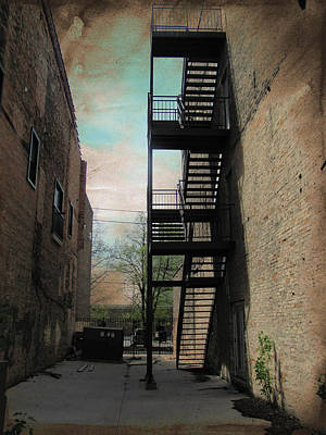Alley With Fire Escape And Grunge Border 1 Poster