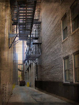 Alley With Fire Escape And Grunge Border 2 Poster