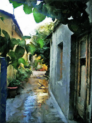 Alleyway In Rhodes Greece Poster by Judy Paleologos