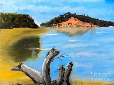 Poster featuring the painting Allonah Beach Tasmania by Pamela  Meredith