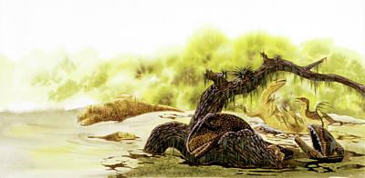 Allosaurus Dinosaurs Drowning Poster by Deagostini/uig