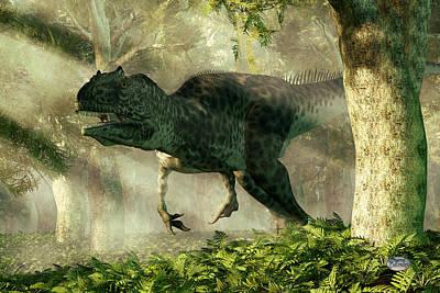 Allosaurus In A Forest Poster by Daniel Eskridge