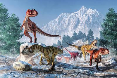 Allosaurus Pack Poster by Daniel Eskridge