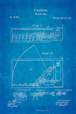 Allstatter Harvester Rake Patent Art 1864 Blueprint Poster by Ian Monk