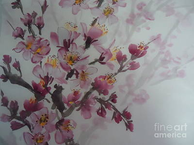 Poster featuring the painting Almond Flower by Dongling Sun
