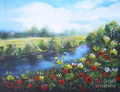 Poster featuring the painting Along The Poppy Valley by Vesna Martinjak