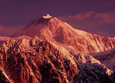 Alpenglow Warms The Summit Slopes Poster