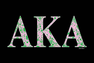 Poster featuring the digital art Alpha Kappa Alpha - Black by Stephen Younts