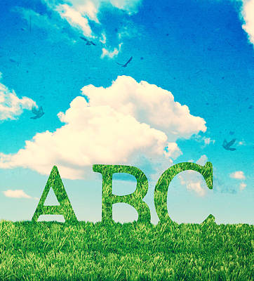 Alphabet Letters In Grass Poster by Amanda Elwell