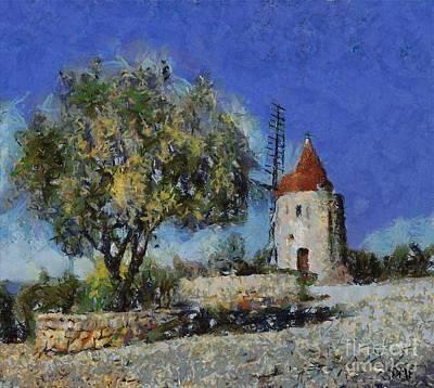 Alphonse Daudet's Windmill Poster by Dragica  Micki Fortuna
