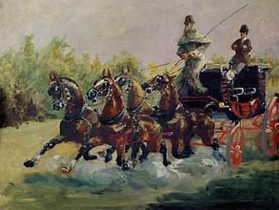 Alphonse De Toulouse-lautrec-monfa 1838-1913 Driving His Mail-coach In Nice, 1881 Oil On Canvas Poster