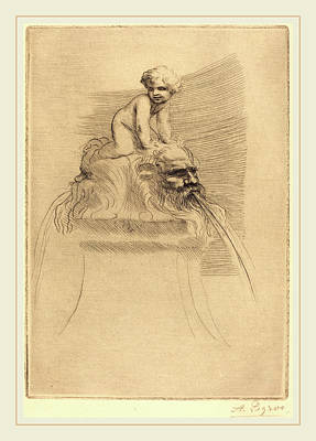 Alphonse Legros, Small Fountain, Child Playing Poster