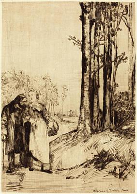 Alphonse Legros, Stroll Of The Convalescent La Promenade Du Poster
