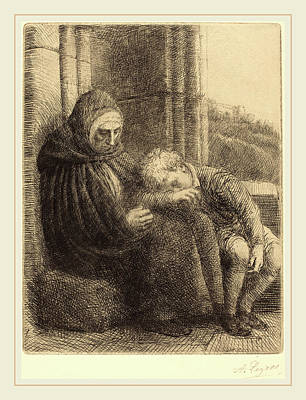 Alphonse Legros, Woman Seated Against A Wall, Child Poster