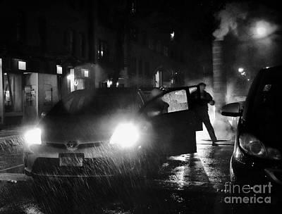 Fight On A Rainy Night Poster by Miriam Danar