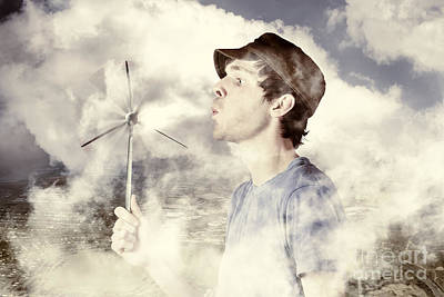 Alternative Energy Man With Wind Power Solution Poster by Jorgo Photography - Wall Art Gallery